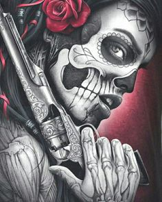 Drawing Tattoo Chicano Dia De 69 New Ideas Chicano Tattoos, Body Art Tattoos, Tattoo Drawings, Girl Tattoos, Arte Cholo, Cholo Art, Skull Girl Tattoo, Sugar Skull Tattoos, Lowrider Art