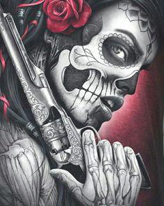 Drawing Tattoo Chicano Dia De 69 New Ideas Sugar Skull Mädchen, Sugar Skull Artwork, Sugar Skull Tattoos, Chicano Tattoos, Body Art Tattoos, Tattoo Drawings, Girl Tattoos, Arte Cholo, Cholo Art