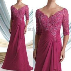 Mother of the bride dresses noble magenta lace Half-sleeve V-neck formal evening gown custom size on Etsy, $148.36 CAD
