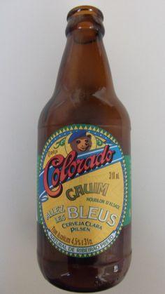 Cerveja Colorado Cauim Allez Les Bleus, estilo Premium American Lager, produzida por Cervejaria Colorado, Brasil. 4.5% ABV de álcool.