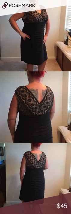 Hot party dress, Very pretty party dress, black layered bottom with a very flattering black lace top with nude backing, very sexy! Nice v-neck, the boys will like it😍.nwot bought for special occasion that never happened, never worn. Dress Barn Dresses Midi