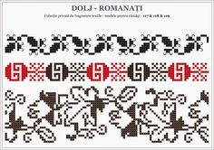 Semne Cusute: traditional Romanian motifs - OLTENIA - Dolj-Roman... Embroidery Sampler, Folk Embroidery, Embroidery Patterns, Stitch Patterns, Knitting Patterns, Cross Stitch Borders, Crochet Borders, Tapestry Crochet, Beading Patterns