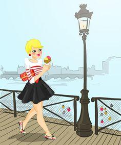 Juliette on the Pont des Arts  by Lucie Ravard