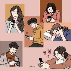 Cute Couple Drawings, Cute Couple Art, Cute Drawings, Cute Couples, Couple Illustration, Character Illustration, Illustration Art, Aesthetic Drawing, Aesthetic Anime