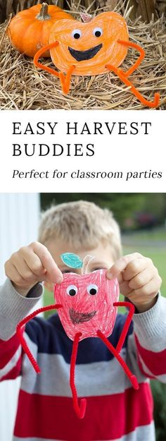Fall Harvest Buddies are an easy and fun printable craft for kids of all ages! This craft is perfect for classroom parties or lazy crafternoons at home. #fallcrafts via @https://www.pinterest.com/fireflymudpie/