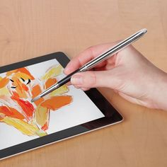 The iPad Paintbrush - The paintbrush uses patent-pending synthetic hairs infused with conductive properties, designed with the same taper, flexibility, and strength as traditional bristles, resulting in the same feel and authentic strokes. - Hammacher Schlemmer