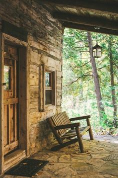 Love this bench that is on the front porch almost directly sitting in the woods.