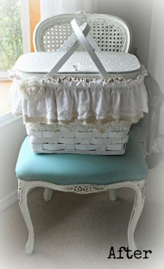 Chair AND upholstery painted with Annie Sloan Chalk Paint : For the love of white