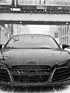 This blacked out Audi looks even better in snow. Imagine this art on your wall. Audi Sports Car, Audi Cars, Super Car Racing, Audi R8 Black, Audi R8 Wallpaper, Hd Wallpaper, Car Websites, Best Luxury Cars, Future Car