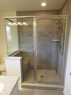 Tile shower with glass surround. Shower Tile, Bathtub, Alcove, Bathroom Renovations, Bathroom