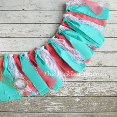 Hey, I found this really awesome Etsy listing at https://www.etsy.com/listing/160672800/coral-aqua-shabby-rag-tie-banner-bunting
