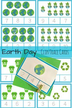 Earth Day Clip/Trace Counting Cards - Teach Me Mommy Sistema Solar, Petite Section, Earth Day Preschool Activities, Science Toddlers, April Preschool, Preschool Class, Preschool Worksheets, Kindergarten, Earth Day Crafts