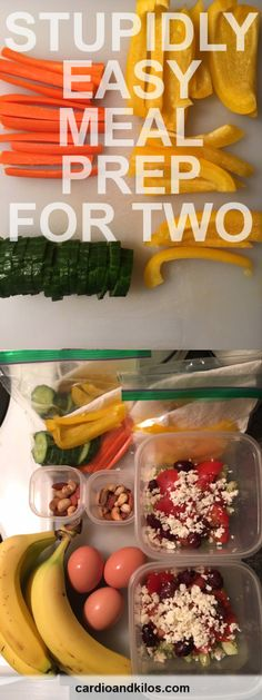 Stupidly Easy Meal Prep for Two: 2 meals for 2 people in 20 minutes! See more at www.cardioandkilos.com