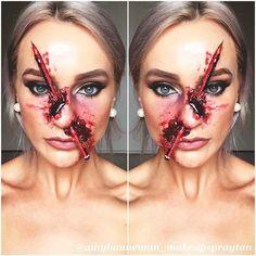 23 kreative DIY Halloween Make-up-Ideen Crazy Halloween Makeup, Bloody Halloween, Costume Halloween, Halloween Diy, Nose Makeup, Scary Makeup, Eye Makeup Tips, Makeup Ideas, Sfx Makeup