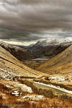Travelling in the Lake District on an icy winters day, Cumbria, England