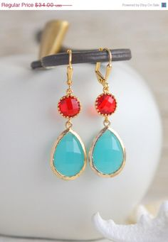CYBER MONDAY SALE Large Turquoise Teardrop and Red by RusticGem