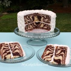 Zebra Striped Cake    If you are having a safari themed party or shower, your guests will be amazed when they see the party theme has been carried through all the way to the middle of this amazing cake.
