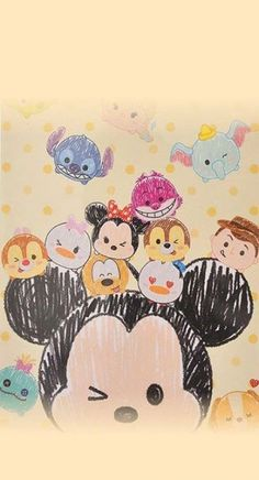 Shared by Maryfer. Find images and videos about wallpaper, disney and tsum tsum on We Heart It - the app to get lost in what you love. Kawaii Disney, Disney Art, Disney Phone Wallpaper, Wallpaper Iphone Cute, Cute Disney Drawings, Cute Drawings, Tsum Tsum Wallpaper, Disney Background, Pinturas Disney