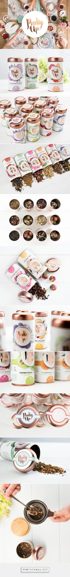 Pinky Up Tea / Packaging / Branding / Design / Ideas / Inspiration / Drink / Tea / Organic / Natural / Rose Gold / Copper / Botanical / Fruits / Flowers (Chocolate Art Graphics) Branding And Packaging, Fruit Packaging, Food Packaging Design, Pretty Packaging, Packaging Design Inspiration, Design Ideas, Packaging Ideas, Food Branding, Bottle Packaging