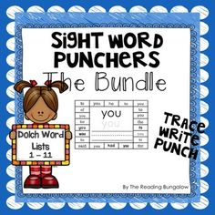 These Sight Word Hole Punch {Dolch Word List} cards are great for your literacy centers or your small instruction groups.   Simply print, cut out and you're ready to go. For your convenience, there are 4 of the same punchers on each page so copying will be easier.