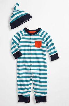 Offspring Romper & Hat-Blue & Orange-offspring, layette, outfit,hat,romper,stripes, set, blue, orange, outfit, baby gift, trendy, baby boutique
