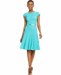 London Times Cap-Sleeve Lace Belted Dress