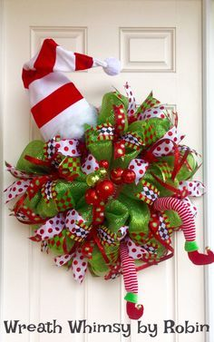 XL Deco Mesh Holiday Elf Wreath in Lime Green & Red with Hat that Lights Up, Christmas Wreath, Whimsical, Elf Decor, Front Door Wreath