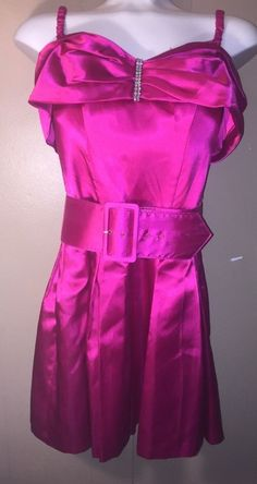 RAMPAGE juniors sz 3 hot pink satin club party dress SALE REDUCED belted bling #Rampage #Sexy #party