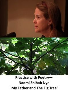 Naomi Shihab Nye writes beautiful poetry that makes one think of peace under difficult conditions. Her poem, My Father and the Fig Tree, speaks of her fathers love of seemingly fig trees, but really fig trees are just a symbol for a longing for his homeland.