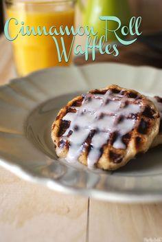 Cinnamon roll waffles made with Pillsbury Grands refrigerated cinnamon rolls