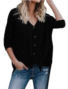 Button Up Waffle Knit Top. Blouse OutfitTie BlouseLong Sleeve ShirtsWaffle  KnitWomen s ... 51f18c766