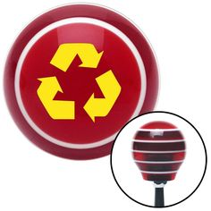 Yellow Recycle Red Stripe Shift Knob with M16 x 15 Insert