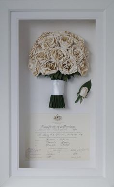 White rose wedding bouquet preserved and framed with wedding certificate. Dried bouquet.