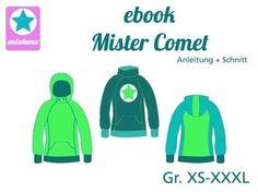 Nähanleitung und Schnittmuster Mister Comet Hoodie Gr.XS-XXXL bei Makerist