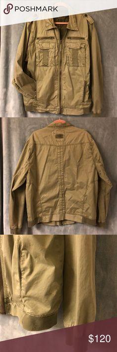 Lucky Brand Fairbanks Green Trevor jacket mens xxl Lucky Brand Style: TREVOR JACKET IN FAIRBANKS GREEN distressed utility bomber jacket. Men's xxl Partial lined. Style # 7M30020 Lucky Brand Jackets & Coats Bomber & Varsity