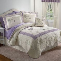 Pem America Patch Of Flowers Queen 3-Piece Quilt Set, Yellow by ... : lavender quilts - Adamdwight.com