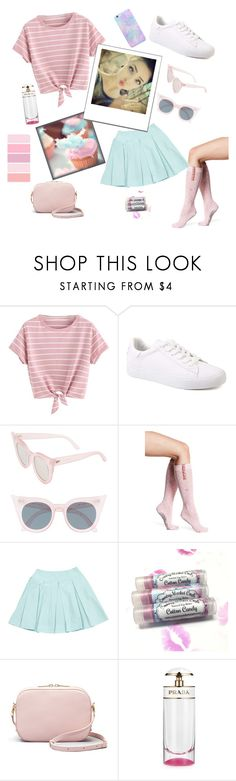 """""""Cotton Candy Girl"""" by klynnmarie ❤ liked on Polyvore featuring Cotton Candy, Le Specs, Tavi Noir and Prada"""