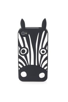 Animal creature iPhone 4G case featuring a large zebra graphic.100% Silicone.
