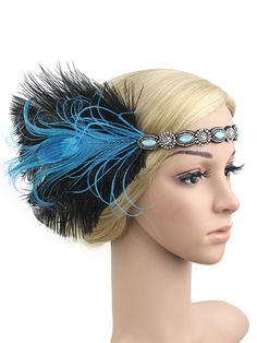 1920s Feather Elastic Headband – vintage1950s Great Gatsby Headpiece, Flapper Headpiece, Gatsby Headband, Vintage Headpiece, Rhinestone Headband, Boho Headband, Feather Headband, Feather Hair Pieces, Elegance Hair