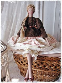 Tilda doll Tilda doll with Long Braid Hair Primitive doll Handmade Textile doll OOAK Fabric doll Country style doll Home decor   This cute doll is my interpretation of a Tilda doll pattern. The doll is wearing a knitted brown sweater and beige skirt with flower pattern. Below