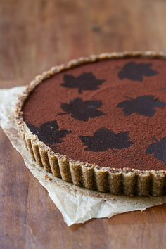 Bittersweet Chocolate Pumpkin Tart with Spiced Pecan Crust | Love and Olive Oil