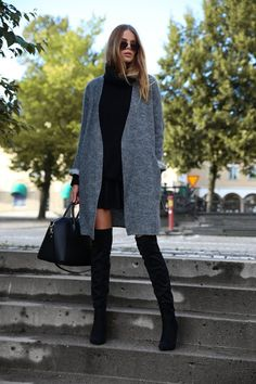 The over the knee boot trend continues this Fall. Pair it with a semi-long cardigan and a little black dress and you are good to go. Via Josefin Ekström Coat: Vanessa Bruno, Skirt: Gina Tricot, Skirt: Vero Moda, Boots: Dinsko, Bag: Chiquelle