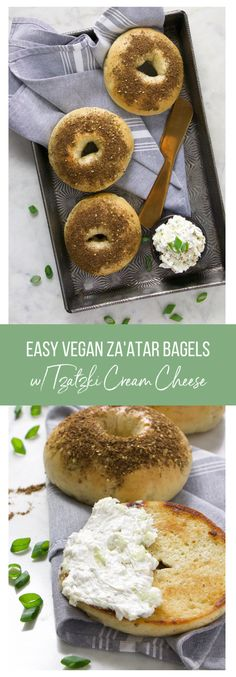 Vegan Za'aatar Bagels with Tzatzki Cream Cheese - Eat. Drink. Shrink. Vegan Bagel, Vegan Bread, Vegan Breakfast, Breakfast Recipes, Homemade Bagels, Bagel Recipe, Vegan Cream Cheese, Dry Yeast, How To Dry Oregano