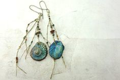 Artisan ammonite  and sea urchin sea blues earrings