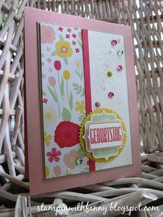 stampin up aufgeblüht all abloom framelits fürs etikett tag talk pailetten match the sketch geburtstag birthday card