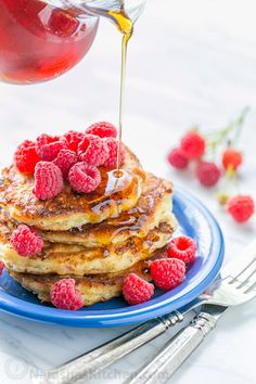 Fluffy Cottage Cheese Pancakes - simple ingredients, easy to make and they reheat really well!   natashaskitchen.com