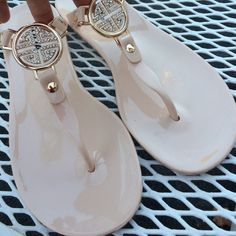 Summer jelly beige sandals 7,8 Brand new super comfortable and versatile sandals, jelly soft with gold tone design in front. It is full of small faux diamonds, perfect for everyday wear with maxi dresses, skirts, shorts or jeans. Available in size 7 or 8 also in black size 7. More sizes and colors available upon request Shoes Sandals