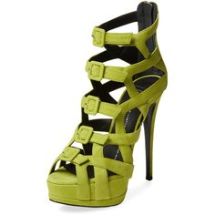 Giuseppe Zanotti Buckle Platform Sandal (£345) ❤ liked on Polyvore featuring shoes, sandals, heels, green, heeled sandals, leather platform sandals, high heel platform sandals, platform sandals and leather shoes