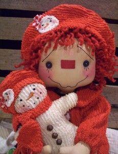 *RAGGEDY ANN ~ Primitive Raggedy Ann Doll Chenille Snowman Jacket Chenille Snowman | eBay