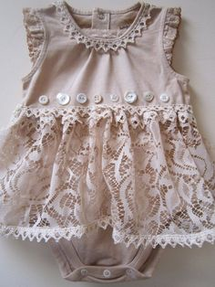 Shabby Tea Dyed Onsie with Vintage Lace by LindaBloom on Etsy, $32.00
